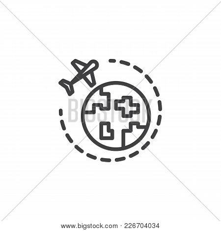 Around The World Outline Icon. Linear Style Sign For Mobile Concept And Web Design. Travel And Touri
