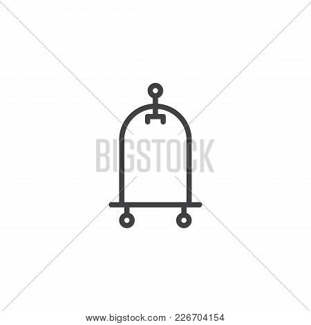 Hotel Trolley Outline Icon. Linear Style Sign For Mobile Concept And Web Design. Luggage Cart Simple