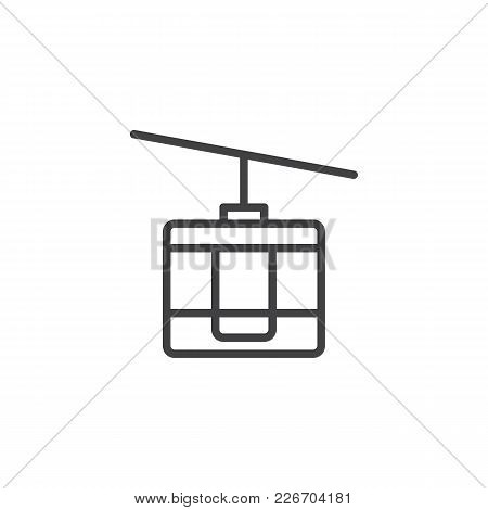 Funicular Outline Icon. Linear Style Sign For Mobile Concept And Web Design. Cable Car Simple Line V
