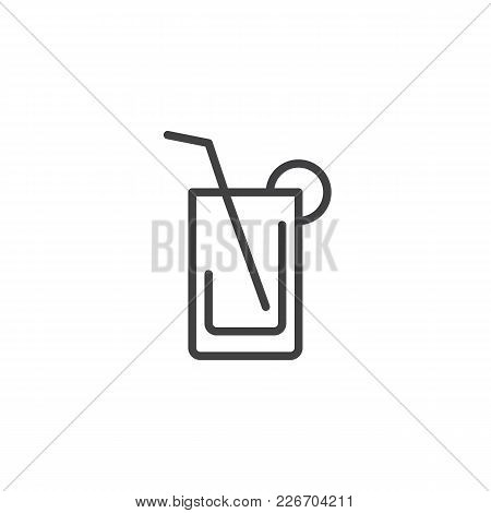 Juice Glass With Straw Outline Icon. Linear Style Sign For Mobile Concept And Web Design. Cold Drink