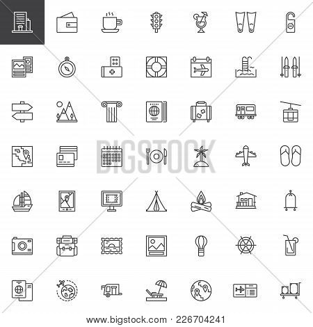 Travel Elements Outline Icons Set. Journey Linear Style Symbols Collection, Line Signs Pack. Vector