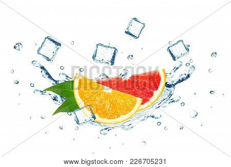 Grapefruit And Orange Splash Water And Ice Cubes Isolated