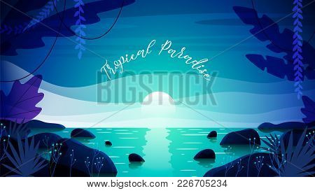 Beautiful Tropical Paradise Background, Banner Template, Vector Illustration
