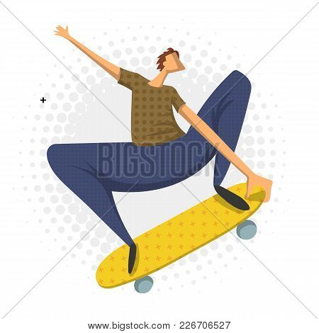 Man Doing A Jumping Trick On Skateboard, Vector Illustration In Flat Style, Isolated On White Backgr