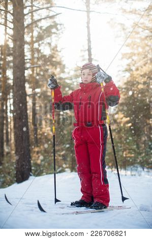 A little boy in red clothes is skiing in a pine forest