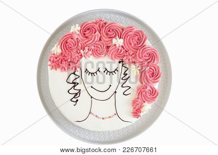 Isolated Festive Vanilla Cake With Butter Cream, An Image Of Girl Face With Flower Hair. View From A