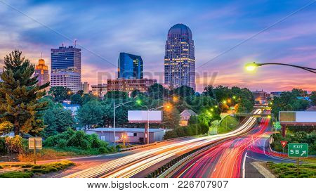 Winston-Salem, North Carolina, USA skyline at dusk.