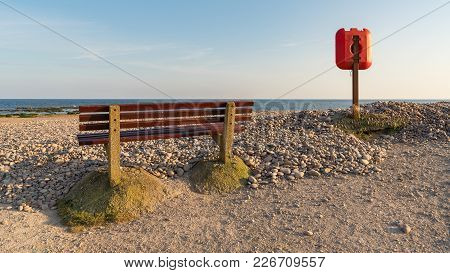 Bench And Lifebuoy Near Otterton Ledge, Looking At Lyme Bay, Budleigh Salterton, Jurassic Coast, Dev