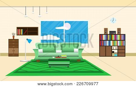 Living Room Or Office Design Interior Relax With Sofa - Carpet Green And Bookshelf Window In Wall Ye