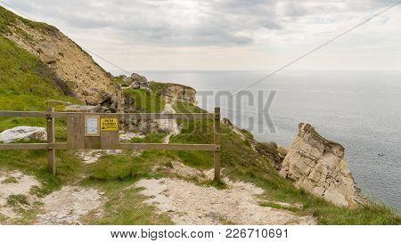 Diversion At The South West Coast Path Near Southwell, Isle Of Portland, Jurassic Coast, Dorset, Uk