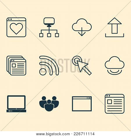 Web Icons Set With Group, Favorite, Tabs And Other Upload Elements. Isolated Vector Illustration Web