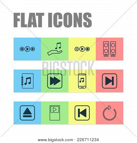 Music Icons Set With Player, Extract Device, Following Song And Other Music Control Elements. Isolat