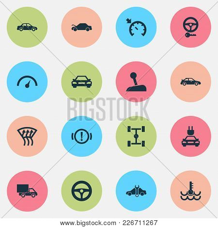 Automobile Icons Set With Cruise Control On, Gear Lever, Electric Car And Other Repairing Elements.