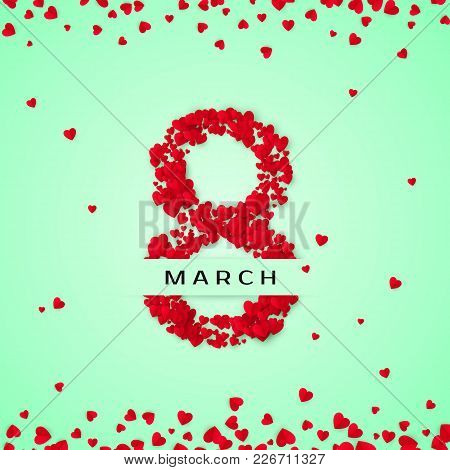 International Women Day. March 8 Greeting  Postcard. Eight Is Made Of Hearts. Website Banner Concept