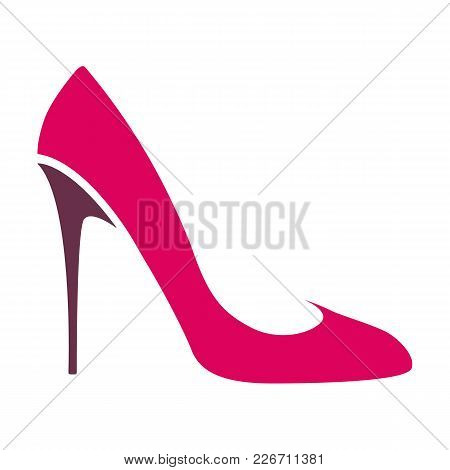 Color Logo Women`s High-heeled Shoes, A Transparent Background. Vector Image.
