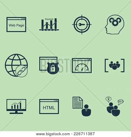 Marketing Icons Set With Html Code, Website Protection, Target Promotion And Other Keyword Marketing