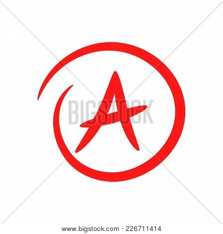 A. Hand Drawn Grade Result With Circle. Success. Pass The Exam. Vector Icon Isolated On White Backgr