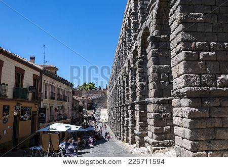 Segovia - May 16, 2015: Views Of The Aqueduct Of Segovia In Segovia, Spain On May 16, 2015