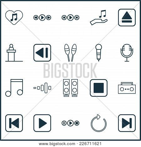 Music Icons Set With Play Music, Tape, Previous Music And Other Music Control Elements. Isolated Vec