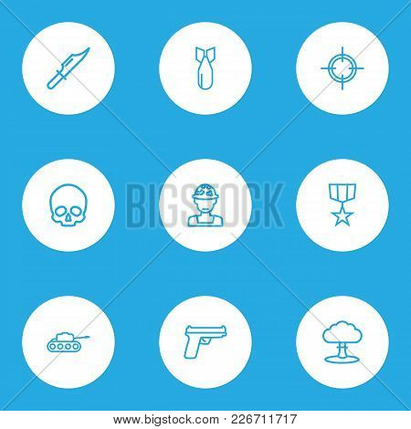 Combat Icons Line Style Set With Gun, Medal, Sniper And Other Panzer  Elements. Isolated Vector Illu