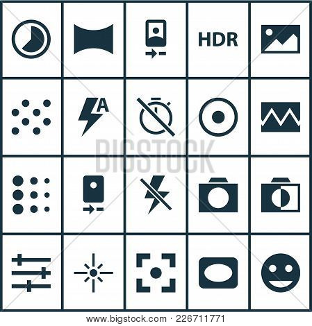 Photo Icons Set With Photographing, Image, Camera Front And Other Lightning Elements. Isolated Vecto