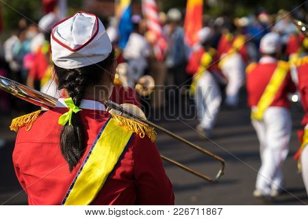 Back View Of Trumpeter At An Event