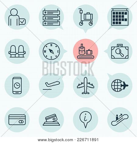 Transportation Icons Set With Information Board, Compass, Aircraft And Other Departure Information E
