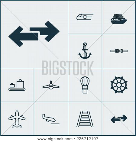 Vehicle Icons Set With Ship Hook, Air Balloon, Railway And Other Cruise Elements. Isolated Vector Il