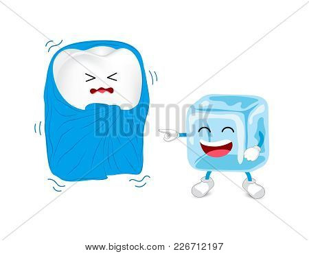 Cartoon Character Of Tooth With Blanket And Ice. Sensitive Teeth To Cold.  Dental Care Concept, Illu