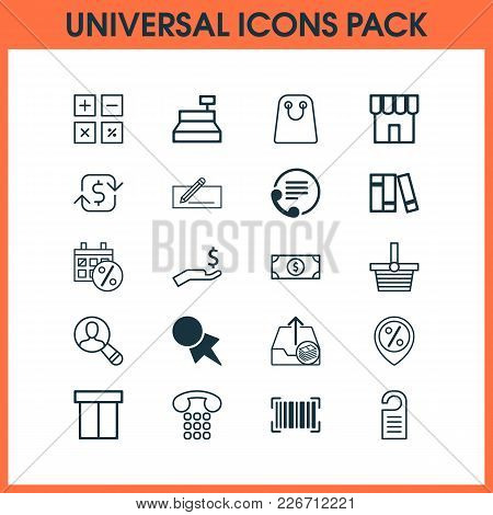 E-commerce Icons Set With Shopping Basket, Paper Tag, Refund Money And Other Buck Elements. Isolated