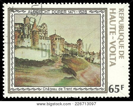 Upper Volta - Circa 1978: Stamp Printed By Upper Volta, Color Edition On Art, Shows Painting Trent C
