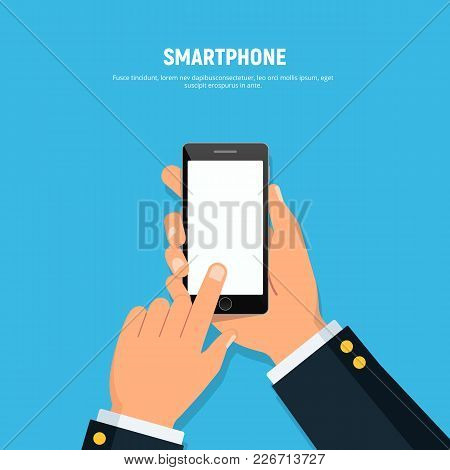 Close-up Of Person Hands Holding Phone. Blank Screen Phone. Mockup With Phone In Flat Style. Vector