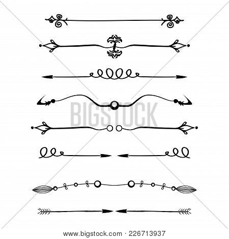 Set Of Calligraphic Design Elements And Page Decor, Dividers Isolated On White Background, Stock Vec