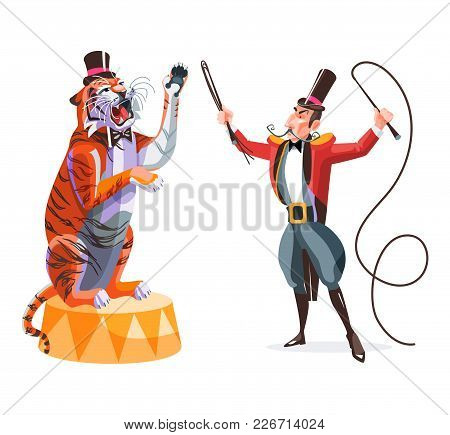 Circus Animals Tamer Holding Whip In One Hand And Tiger On A Pedestal. Wild Animals Trainer With His