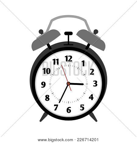 Classical Black Alarm Clock Isolated On White, Vector Illustration