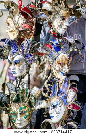 Venice, Italy - February 11: Traditional Colorful Masks In Market At The Carnival Of Venice On Febru