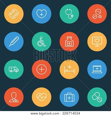 Medicine Icons Line Style Set With Equipment, Stethoscope, Medicines And Other Case Elements. Isolat