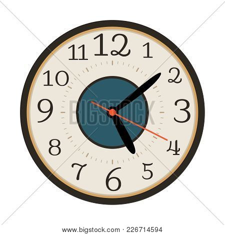 Modern Wall Clock Isolated On White Background, Vector Illustration