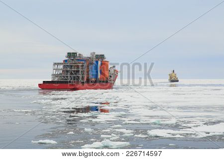 Khatanga, Krasnoyarskiy Region, Russia - Settlement Khatanga, July 18, 2017: Ship Bigroll Beaufort A