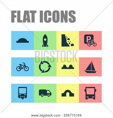 Transportation Icons Set With Hump Bridge, Roundabout, Van And Other Bicycle Elements. Isolated  Ill
