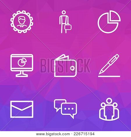 Business Icons Line Style Set With Statistics, Leader, Billfold And Other Businessman Elements. Isol