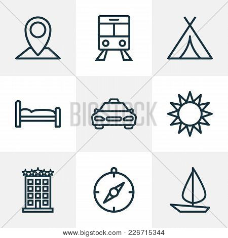 Journey Icons Line Style Set With Cab, Compass, Sun And Other Canopy Elements. Isolated  Illustratio