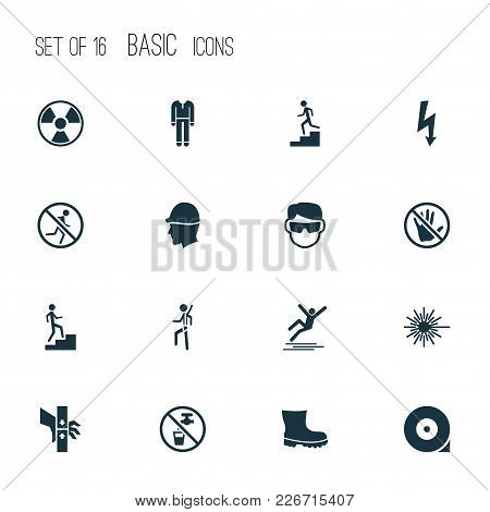 Protection Icons Set With Electrical Hazard, Light, Hat And Other Caution Elements. Isolated  Illust
