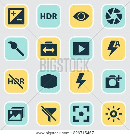 Image Icons Set With Add A Photo, Exposure, Switch Cam And Other Paintbrush Elements. Isolated  Illu