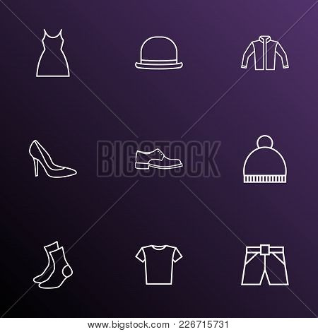 Clothes Icons Line Style Set With Jacket, Beanie, Panama And Other Half-hose Elements. Isolated  Ill