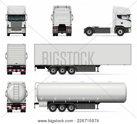 Truck Vector Mock-up. Isolated Template Of Lorry On White Background. Realistic Vehicle Branding Moc