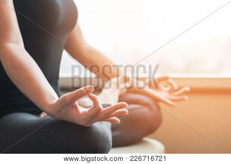 Human Spirit Meditation Therapy, Metal Balance Concept With Woman Person In Yoga Lotus Pose Having S