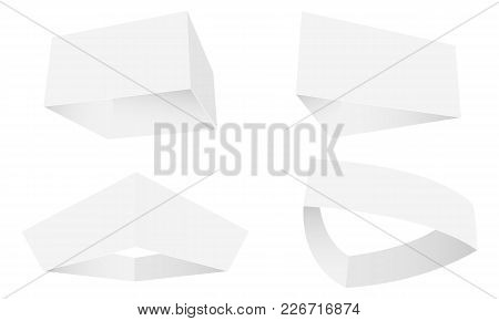 Set of hanging display signs in different shapes - square, triangle, tapered, curved. Vector illustration