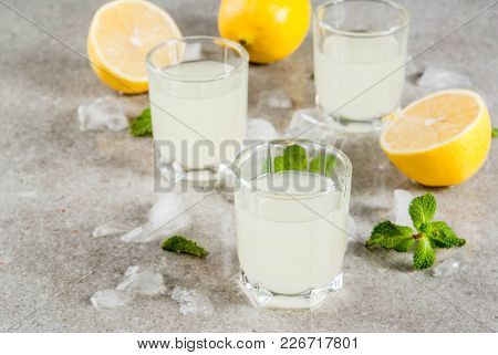 Traditional Italian Alcoholic Homemade Beverage, Lemon Liqueur Limoncello With Fresh Citrus, Ice And