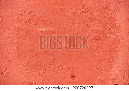 Modern Abstract Painted Orange Street Stone Wall